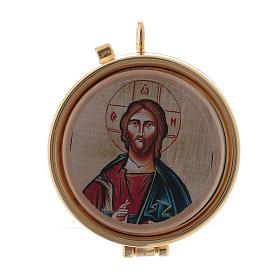 Teca porta Ostie Cristo Pantocratore metallo disco ulivo inciso diam. 5,5 cm s1