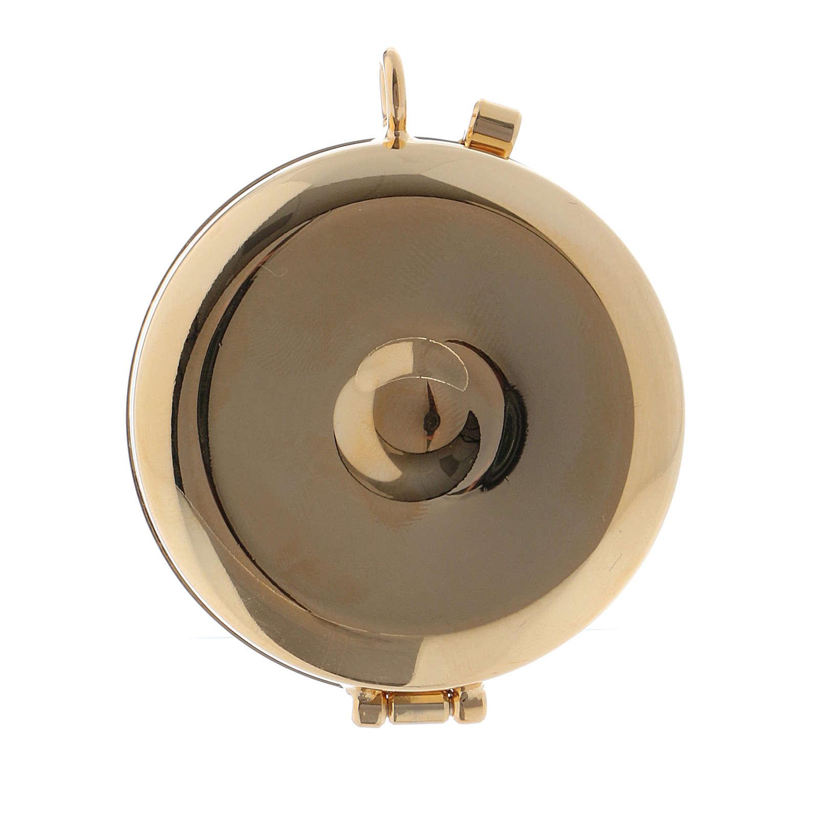 Teca porta Ostie Sacra Famiglia metallo disco legno olivo inciso diam. 5,5 cm 3