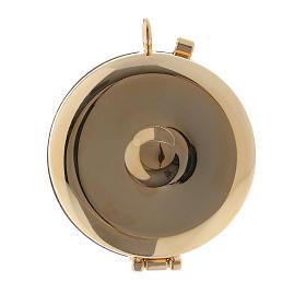 Teca porta Ostie Sacra Famiglia metallo disco legno olivo inciso diam. 5,5 cm s3
