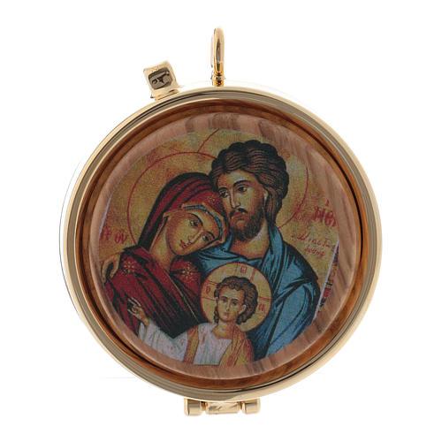 Teca porta Ostie Sacra Famiglia metallo disco legno olivo inciso diam. 5,5 cm 1