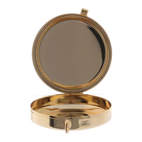 Teca porta Ostie Sacra Famiglia metallo disco legno olivo inciso diam. 5,5 cm 2