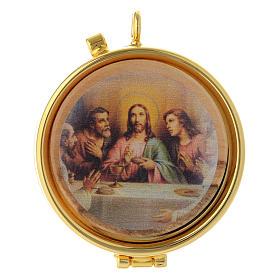 Teca porta Ostie Ultima Cena metallo disco ulivo inciso diam. 5,5 cm s1