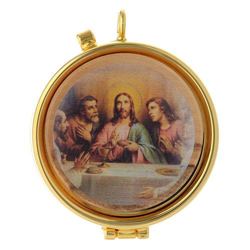 Teca porta Ostie Ultima Cena metallo disco ulivo inciso diam. 5,5 cm 1