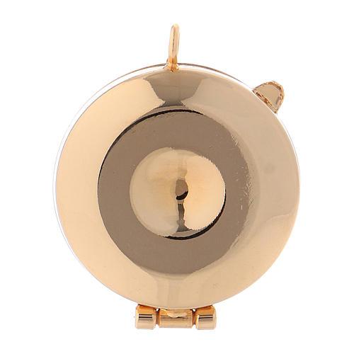 Teca eucaristica ottone dorato incisione 3
