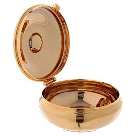 Custode à hosties dorée avec étui rouge diamètre 6 cm s2