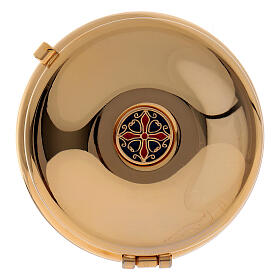 Gold plated pyx with red burse 2 1/2 in diameter s1