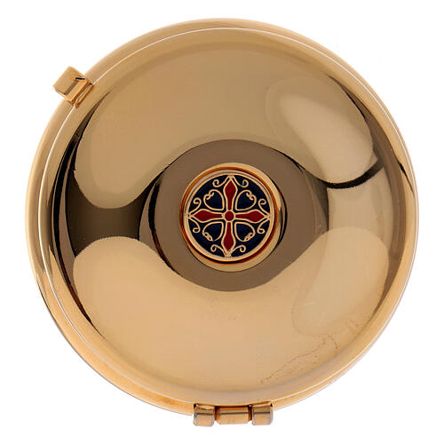 Gold plated pyx with red burse 2 1/2 in diameter 1