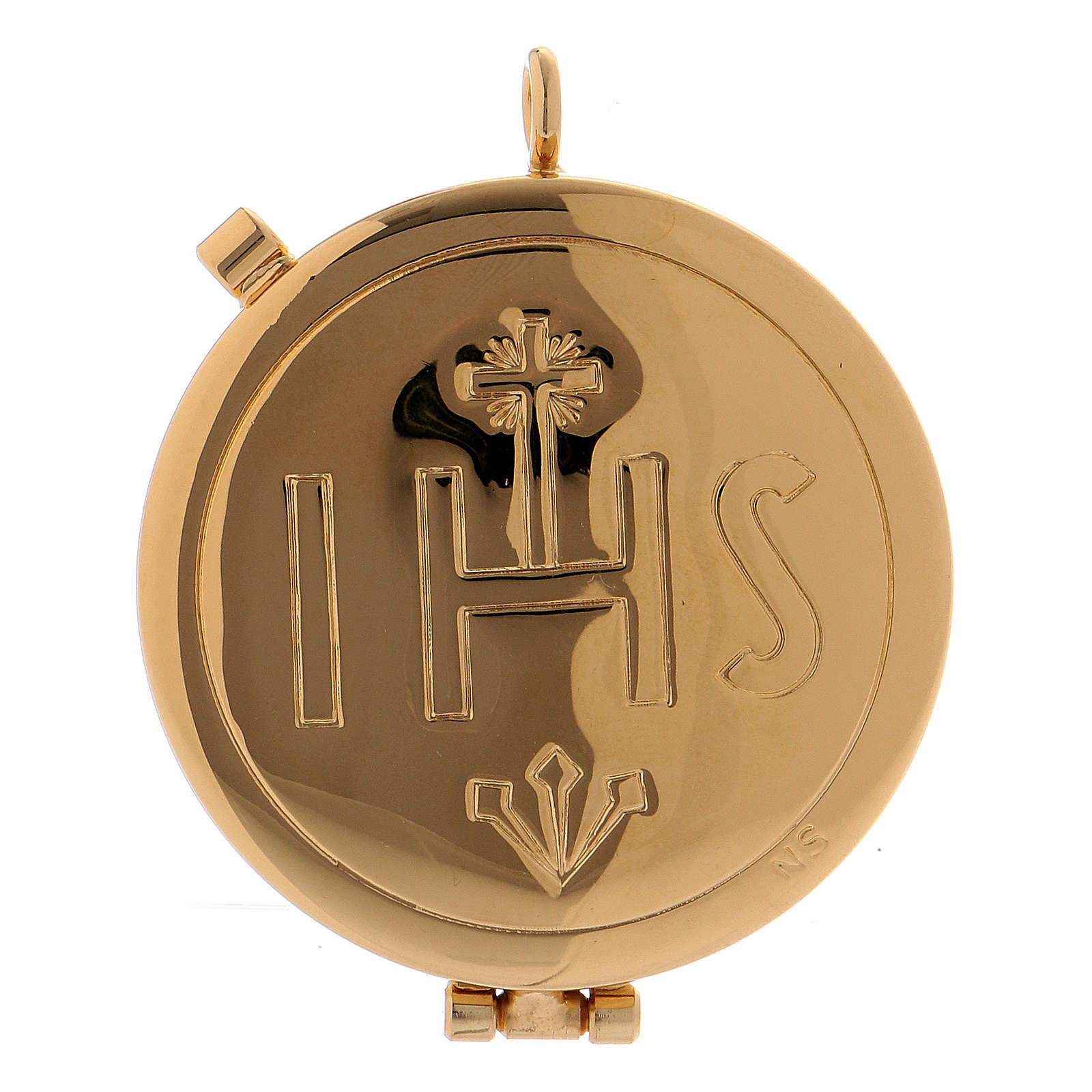 Étui avec custode dorée IHS cuir noir diamètre 5,5 cm 3