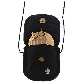 Étui avec custode dorée IHS cuir noir diamètre 5,5 cm s2