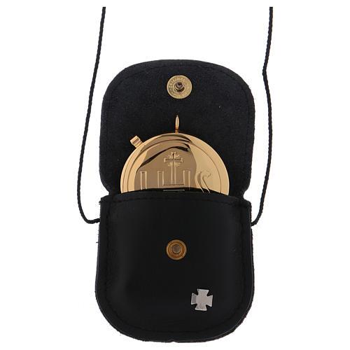 Étui avec custode dorée IHS cuir noir diamètre 5,5 cm 2