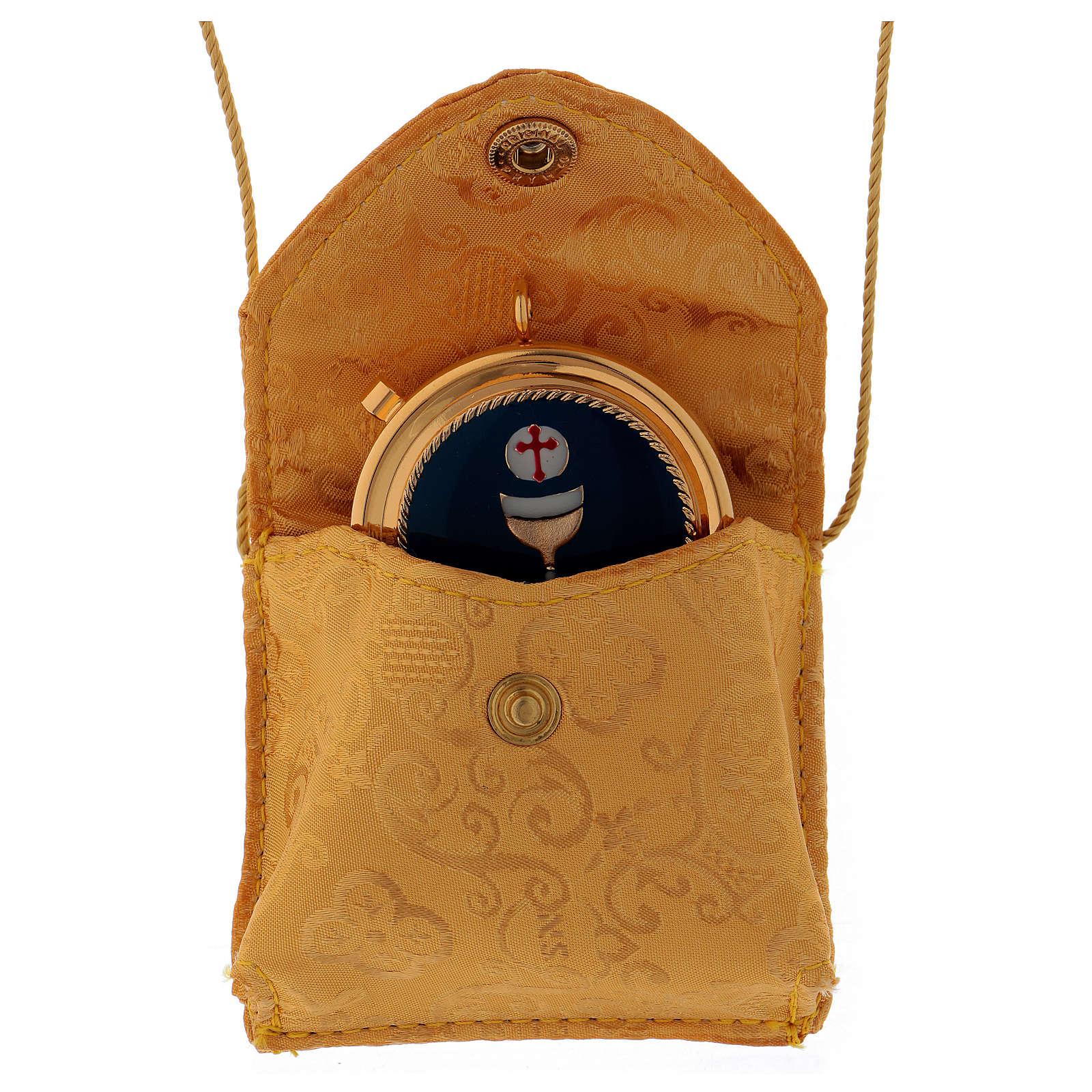 Bolso para relicario de raso amarillo con relicario dorado diámetro 5 cm 3