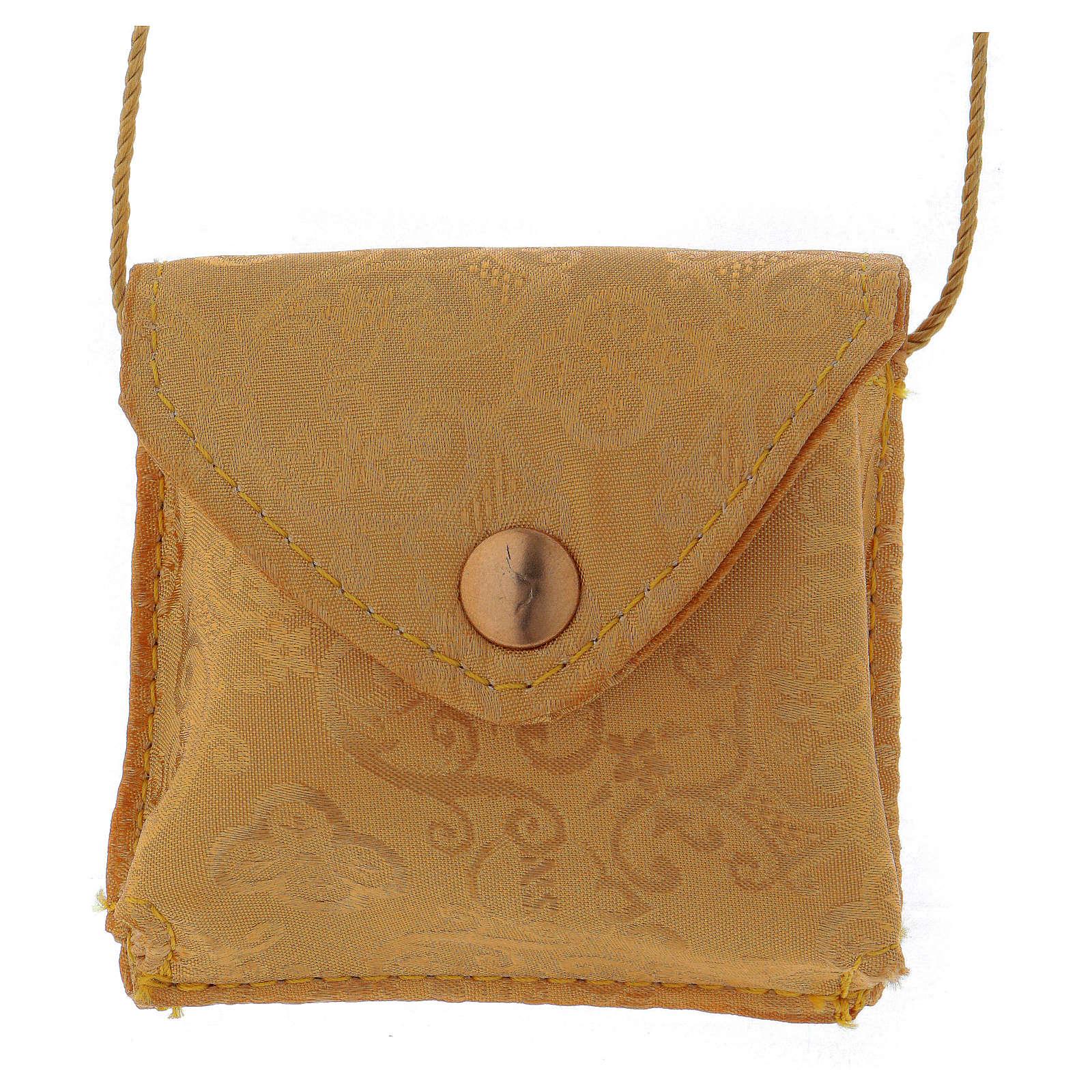 Étui pour custode en satin jaune et custode dorée 5 cm diamètre 3