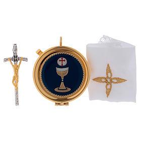Étui pour custode en satin jaune et custode dorée 5 cm diamètre s3