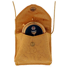 Borsa portateca in raso giallo con teca dorata diametro 5 cm s2