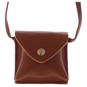 Pyxes and Burses: Bag for case in leather with IHS golden case diam. 5.5 cm