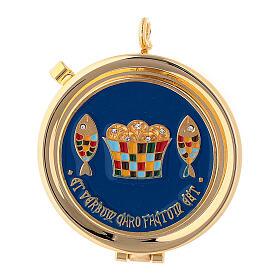 Eucharist case with bread and fish decoration diam. 5 cm s1