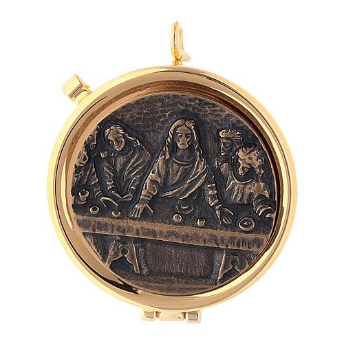 Relicario Eucarístico Última Cena placa bronce antiguo 1