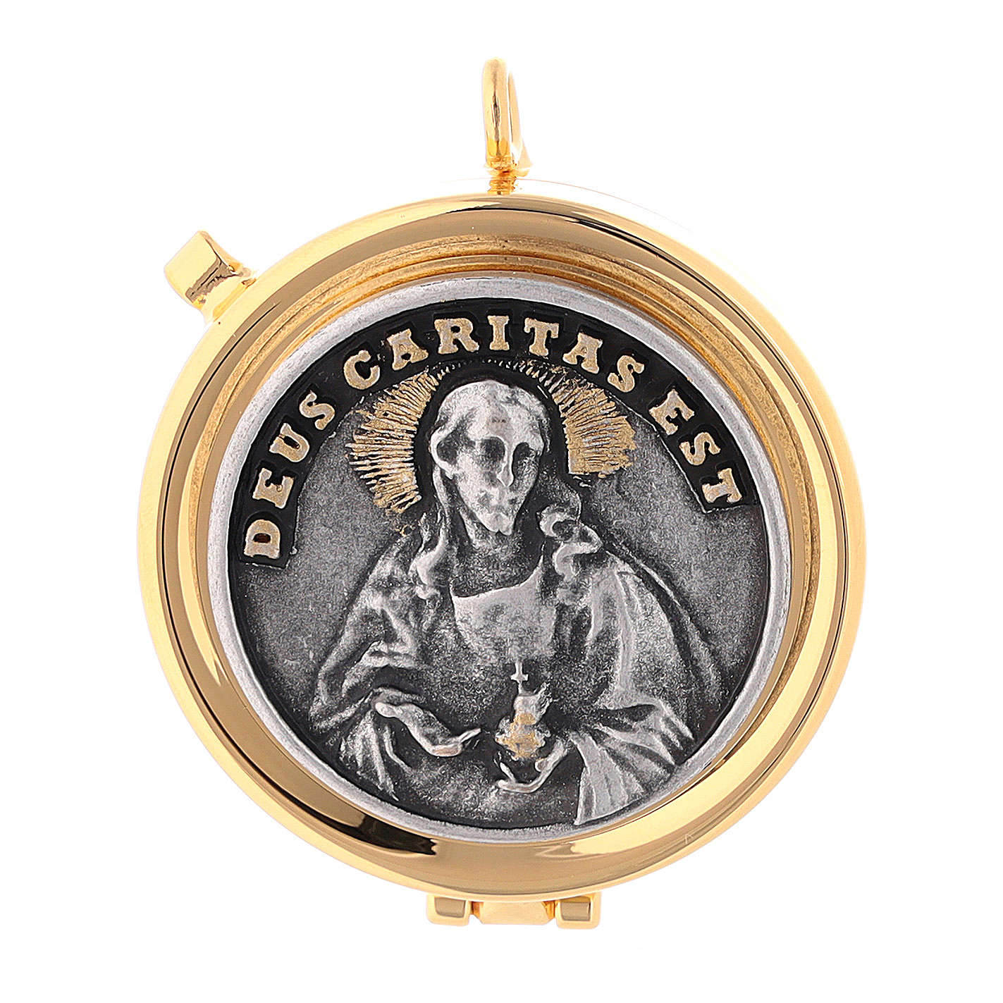 Relicario Eucarístico placa relieve Deus Caritas Est 3
