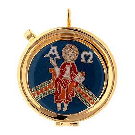 Relicario Cristo en Trono placa esmaltada diám. 5 cm s1