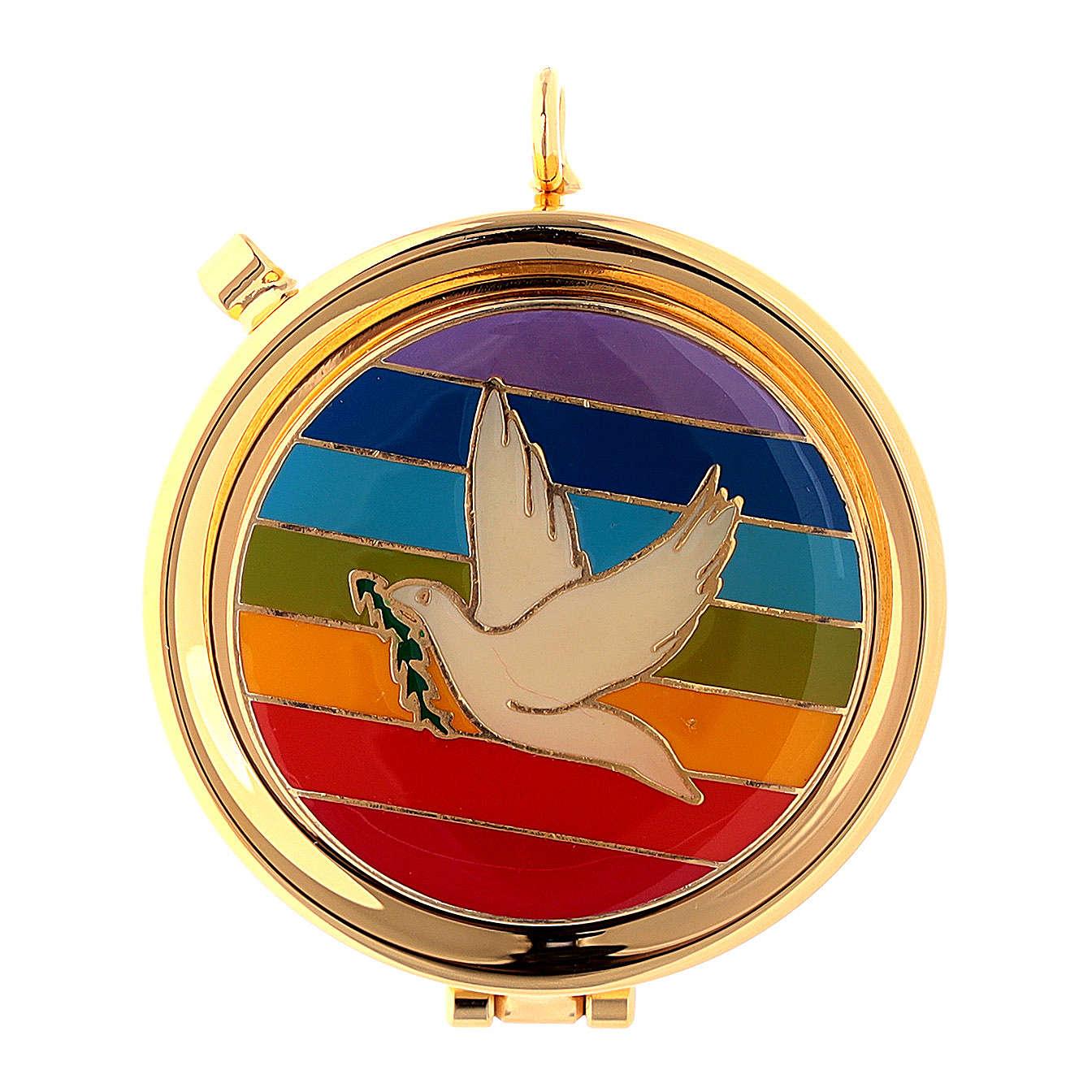 Teca Eucaristica colomba su placca smaltata arcobaleno 3
