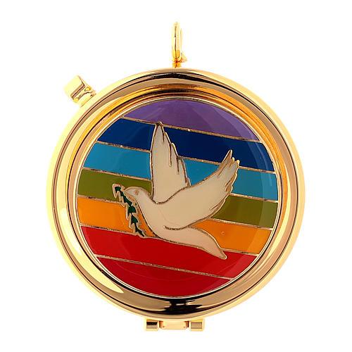 Teca Eucaristica colomba su placca smaltata arcobaleno 1