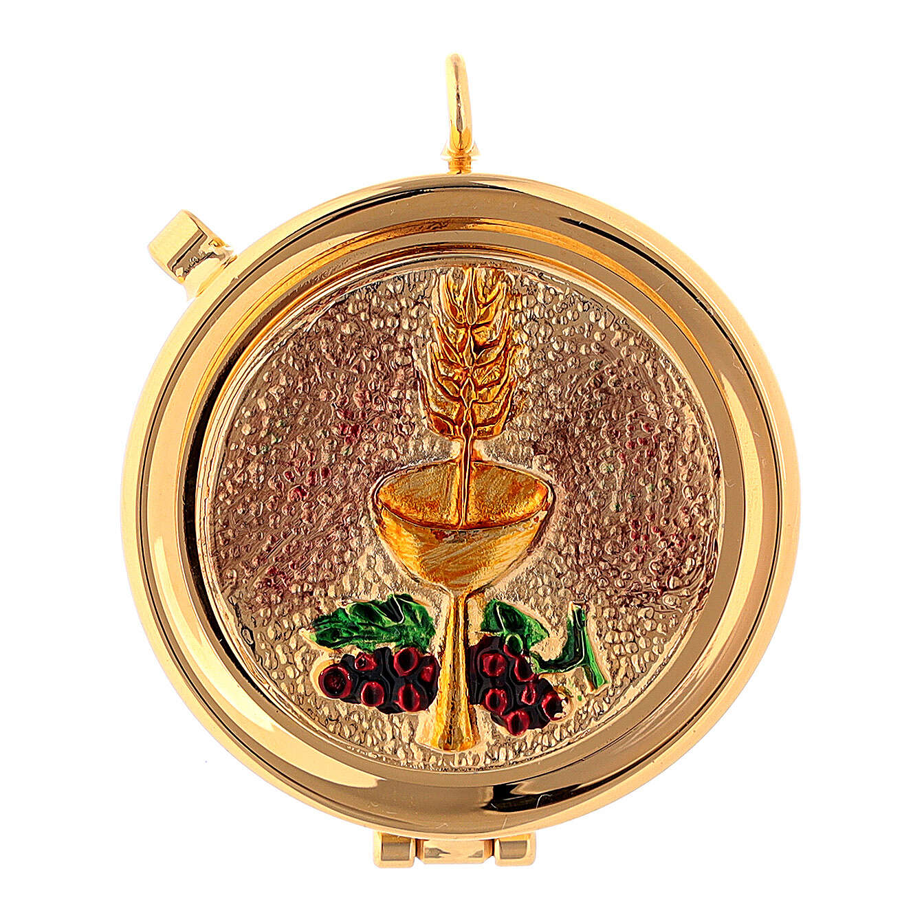 Gold plated brass pyx with chalice and grapes 3