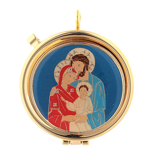 Eucharist case with Holy Family on blue background 1