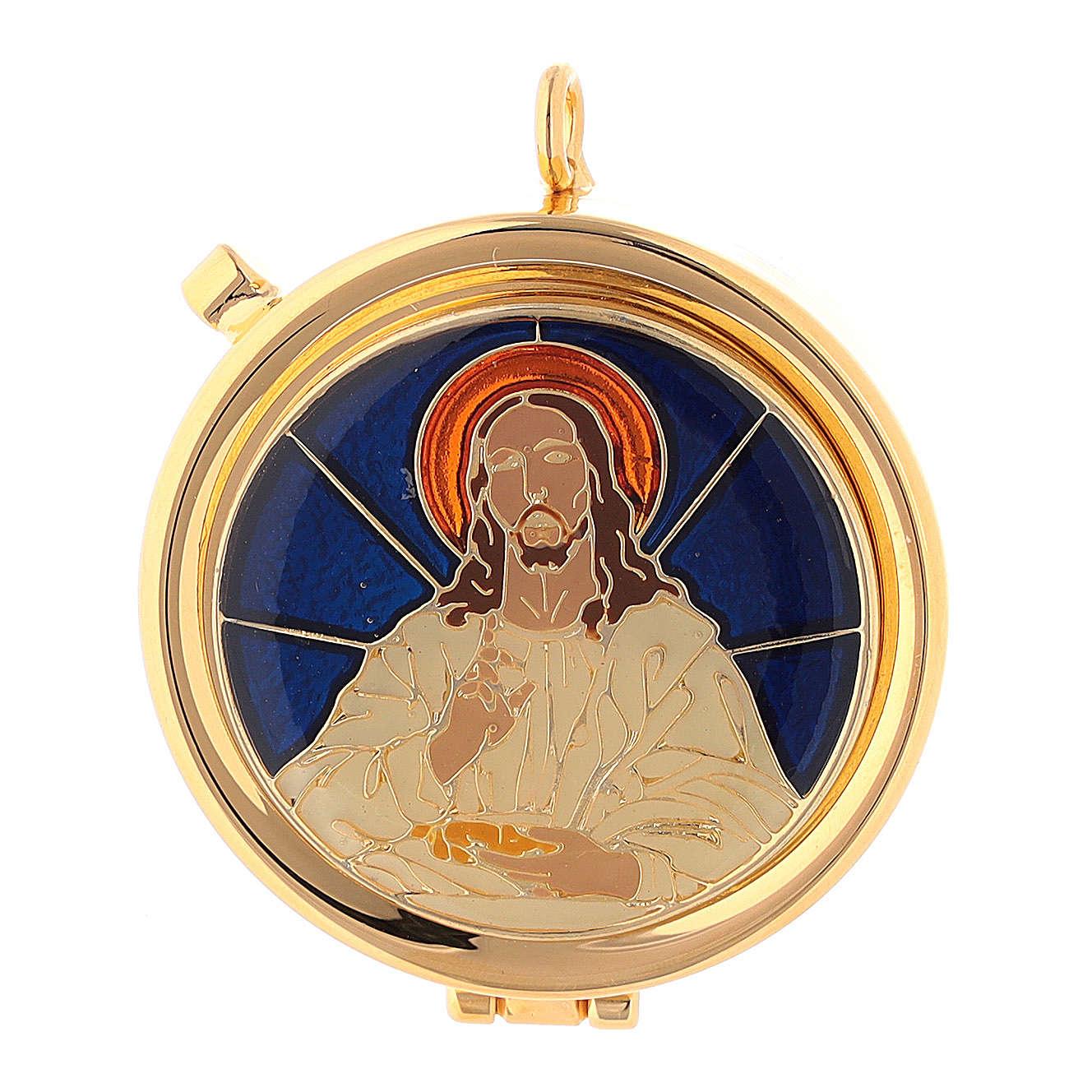 Relicario Eucarístico Cristo fondo azul diám. 5 cm 3