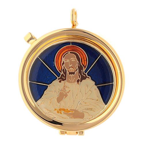 Relicario Eucarístico Cristo fondo azul diám. 5 cm 1