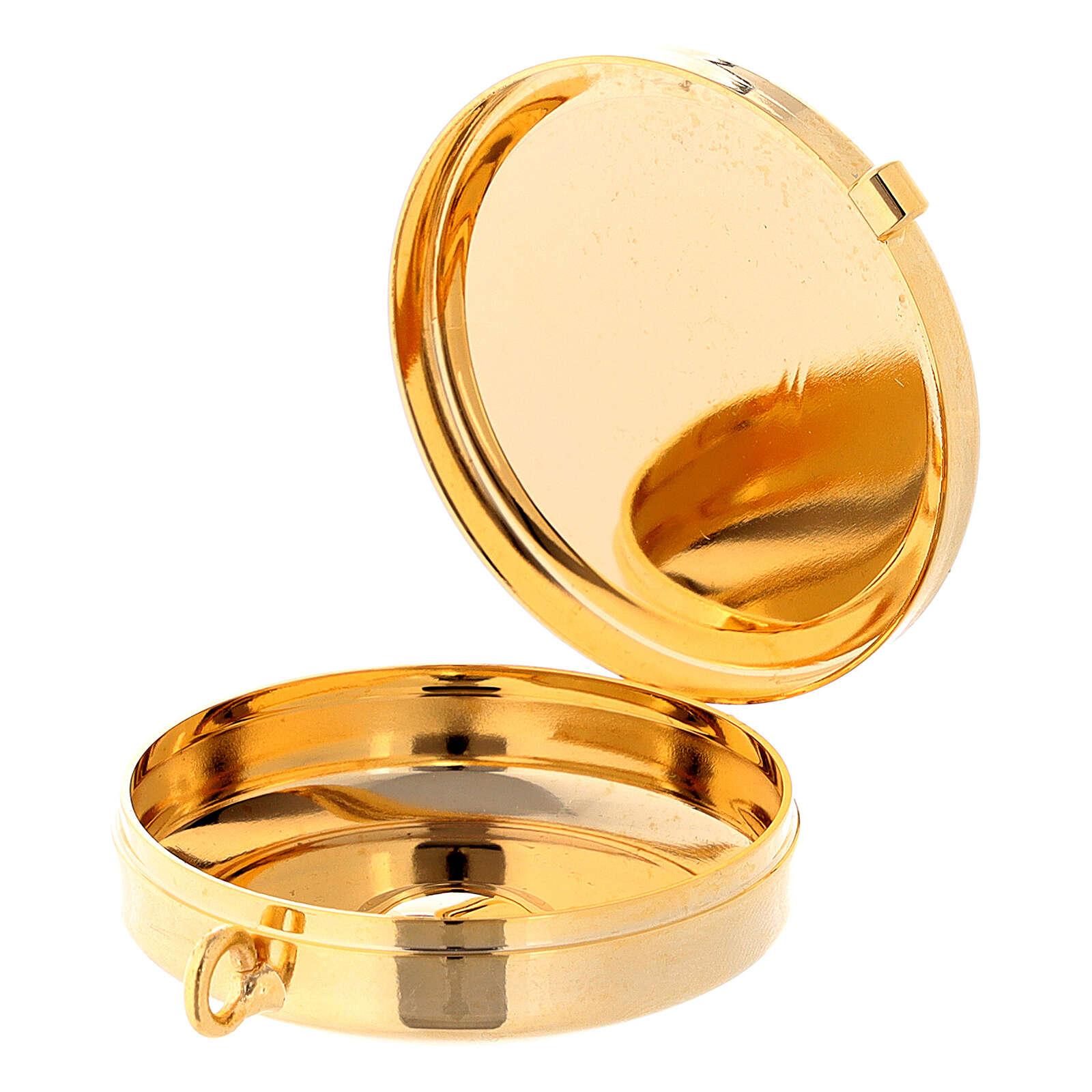 Caixa de hóstias latão dourado 24k relevo IHS, pães e peixe 3