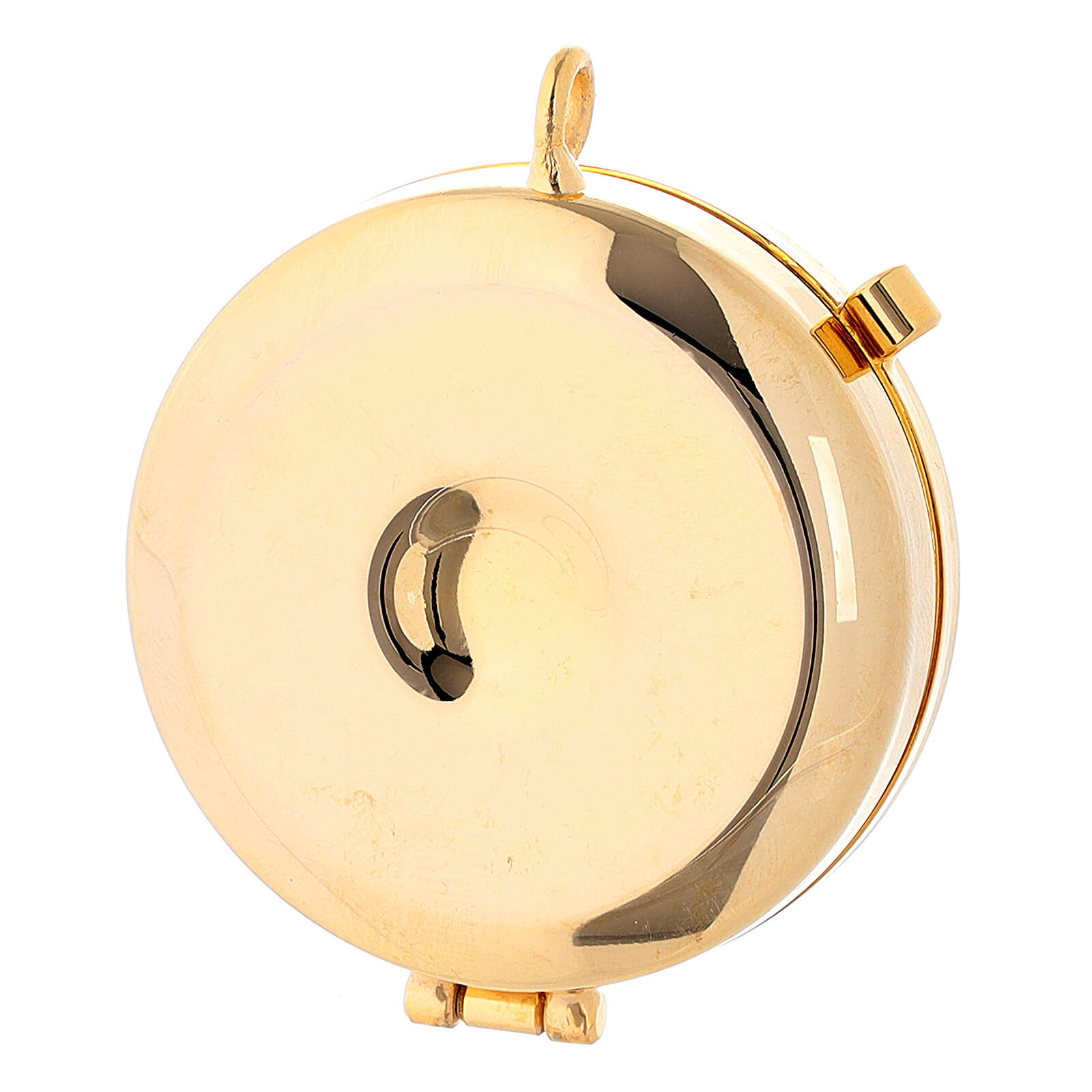 Communion pyx with chalice relief in 24k golden brass 3