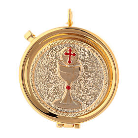 Communion pyx with chalice relief in 24k golden brass s1