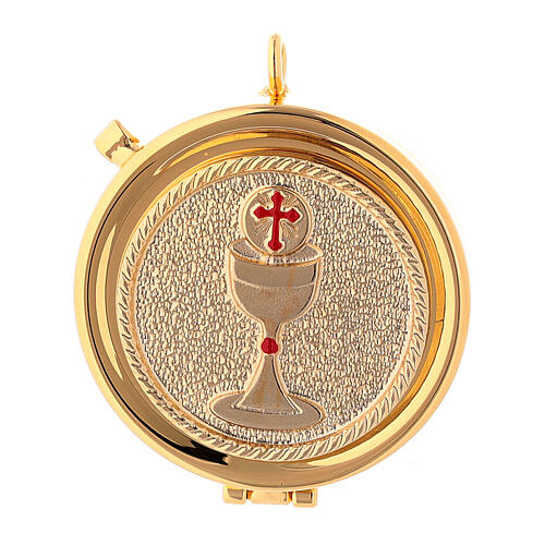 Communion pyx with chalice relief in 24k golden brass 1