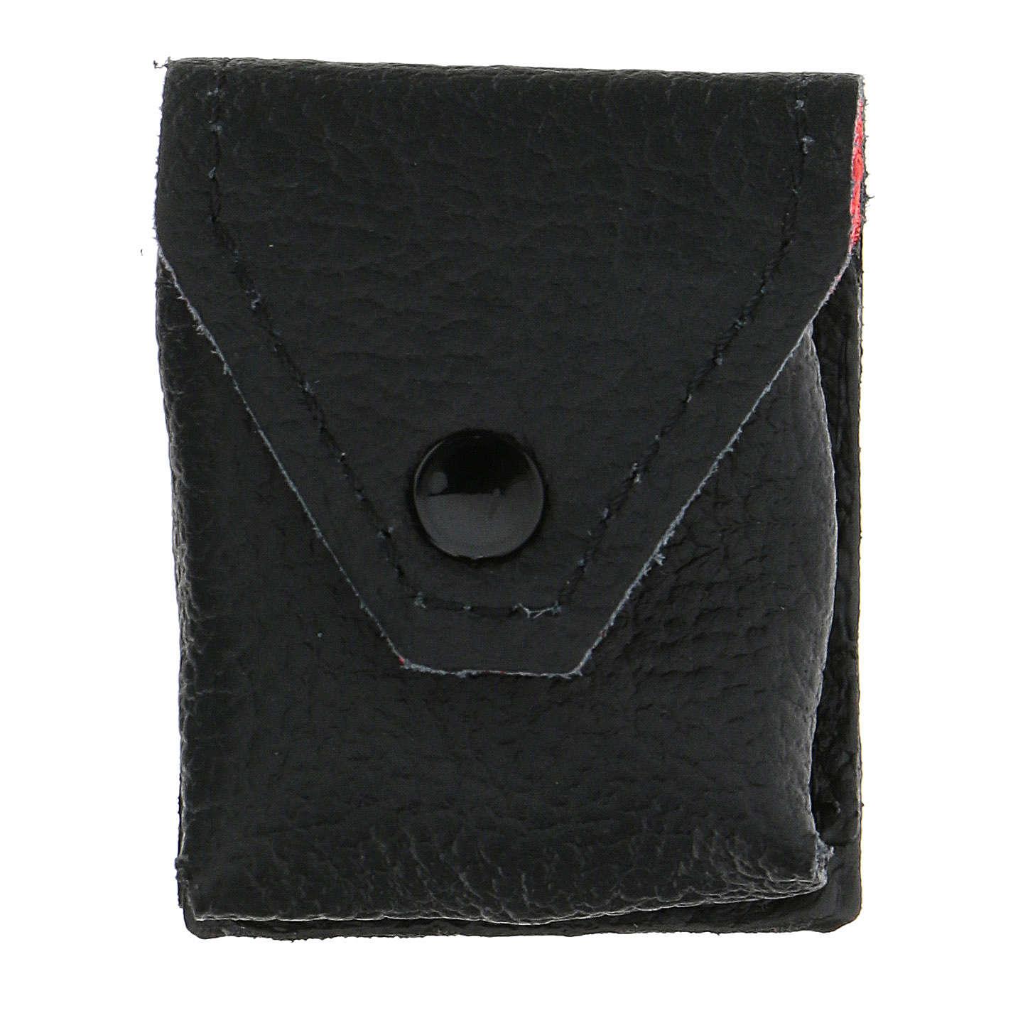 Estuche para viático cuero negro interior rojo 3