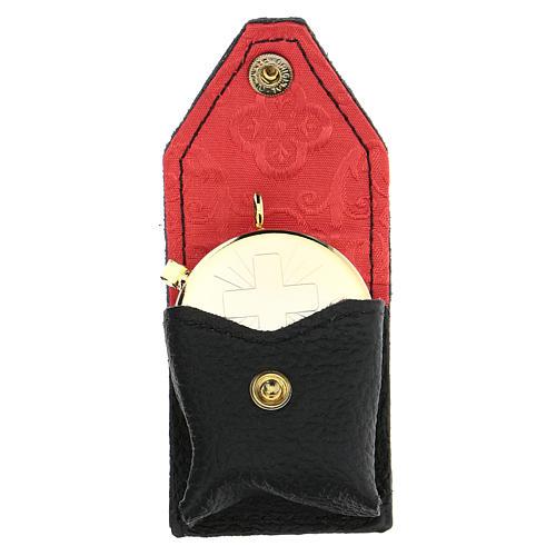 Estuche para viático cuero negro interior rojo 1