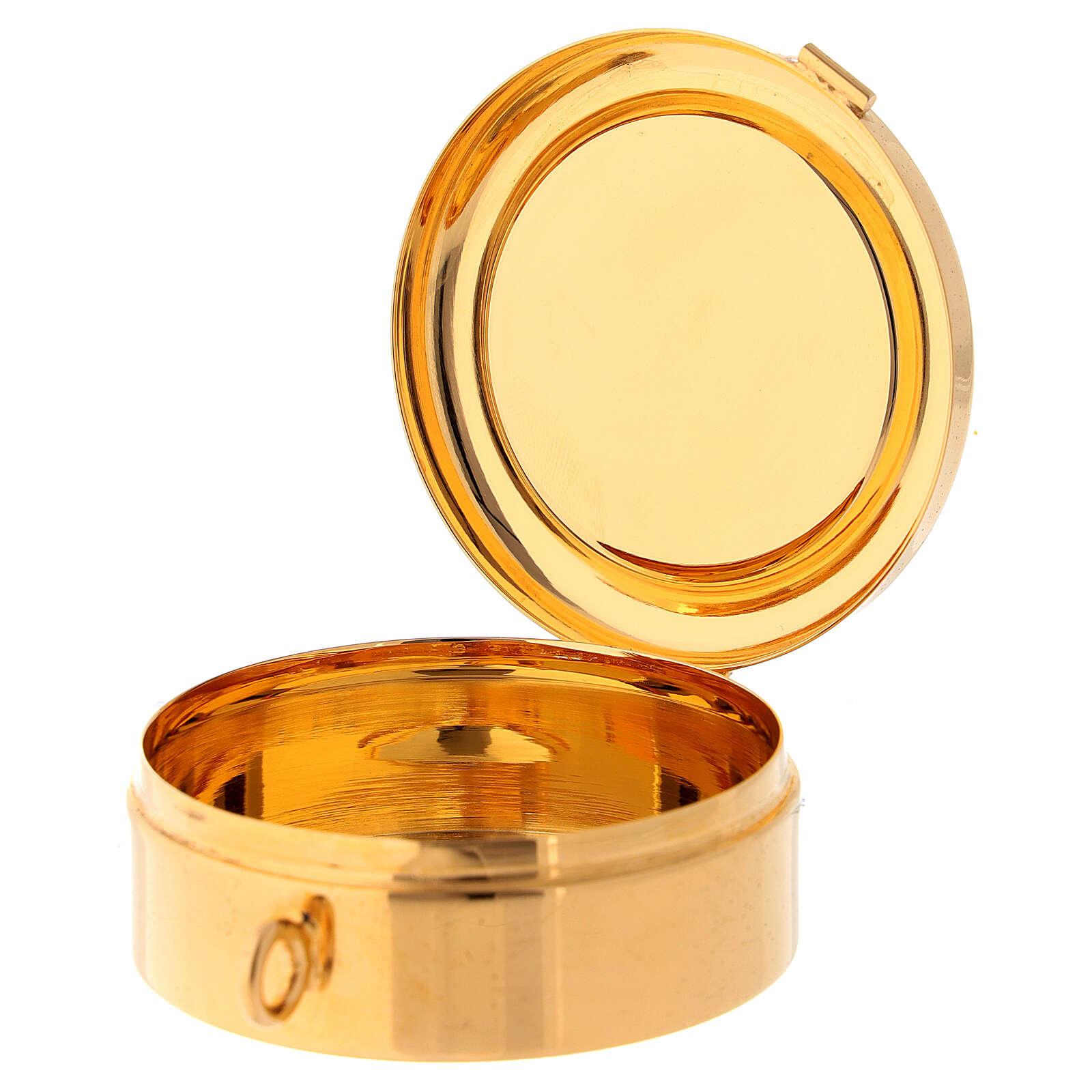 Relicario eucarístico placa esmaltada Cruz latón dorado 3