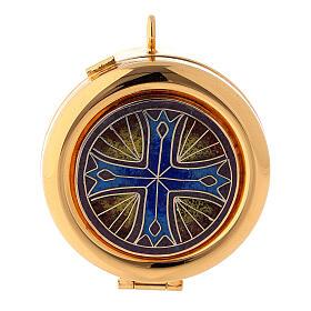 Relicario eucarístico placa esmaltada Cruz latón dorado s1