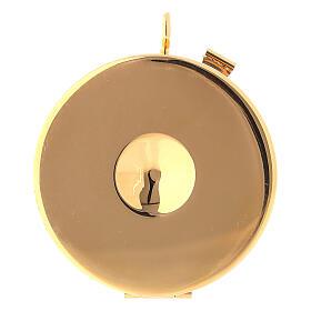 Relicario eucarístico placa esmaltada Cruz latón dorado s3