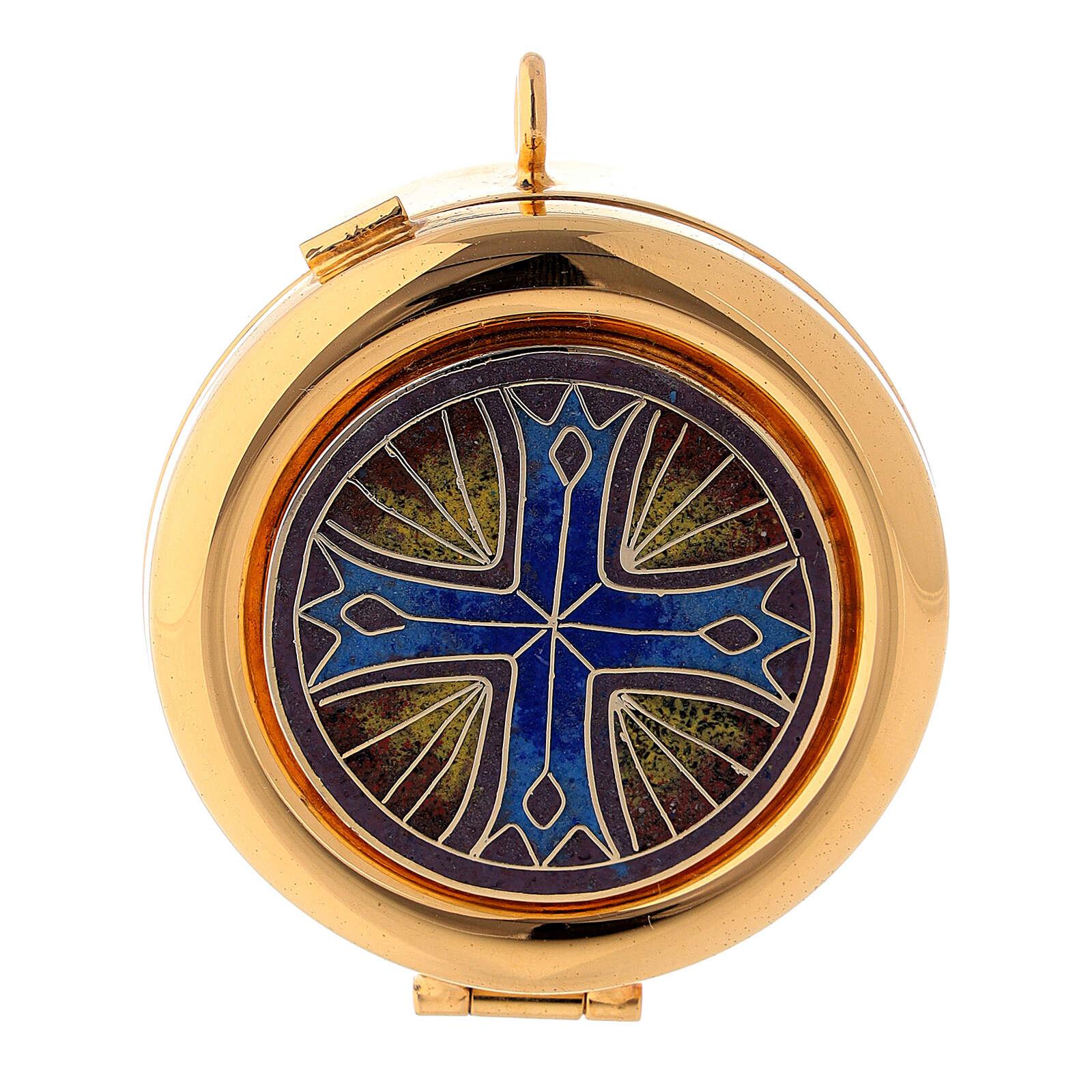 Teca eucaristica placca smaltata Croce ottone dorato 3