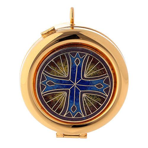 Teca eucaristica placca smaltata Croce ottone dorato 1