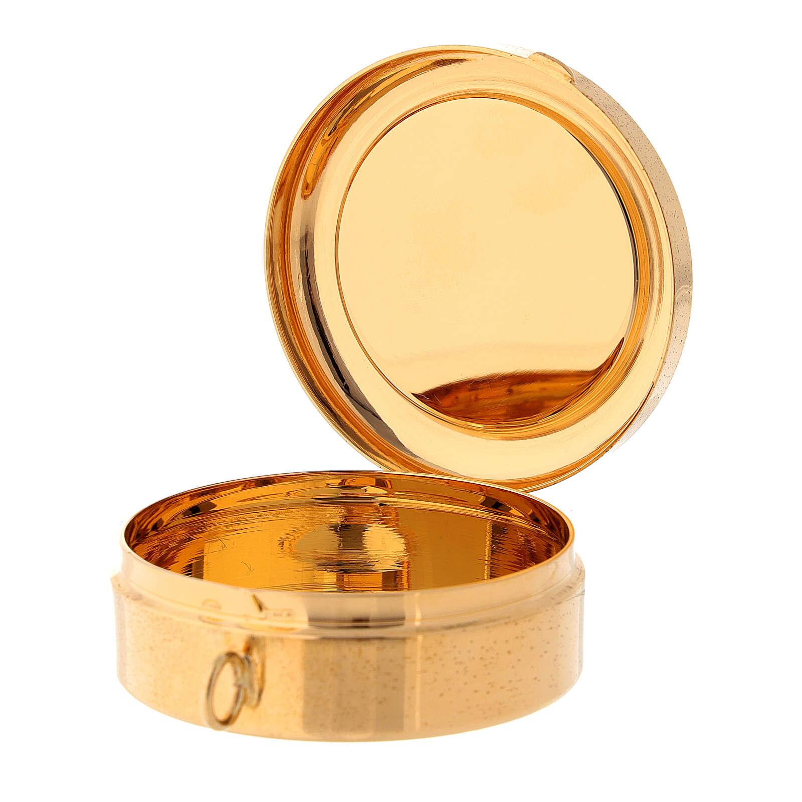 Relicario para hostias IHS esmaltado plata 800 dorado 3