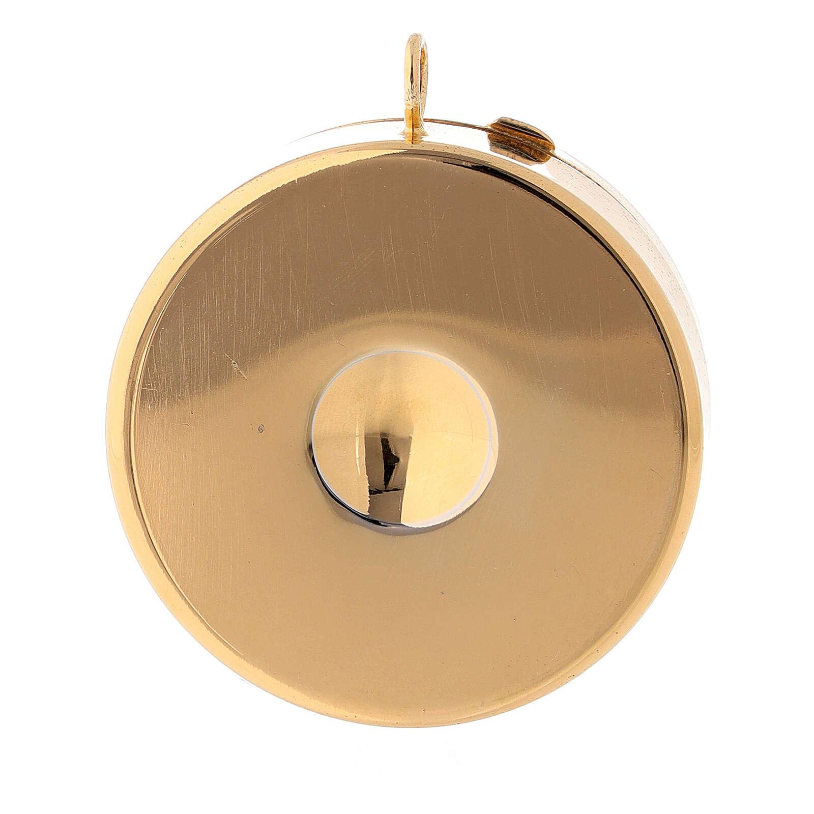 Teca portaostie IHS smaltato argento 800 dorato 3