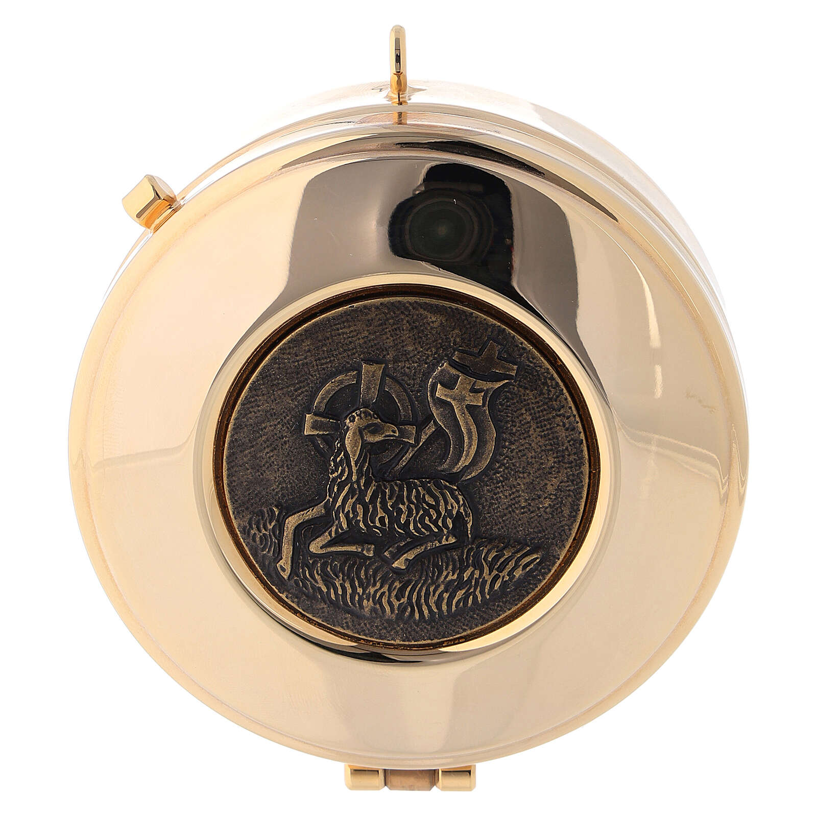 Pyx case in yellow jacquard fabric with golden brass pyx Lamb of Peace 3