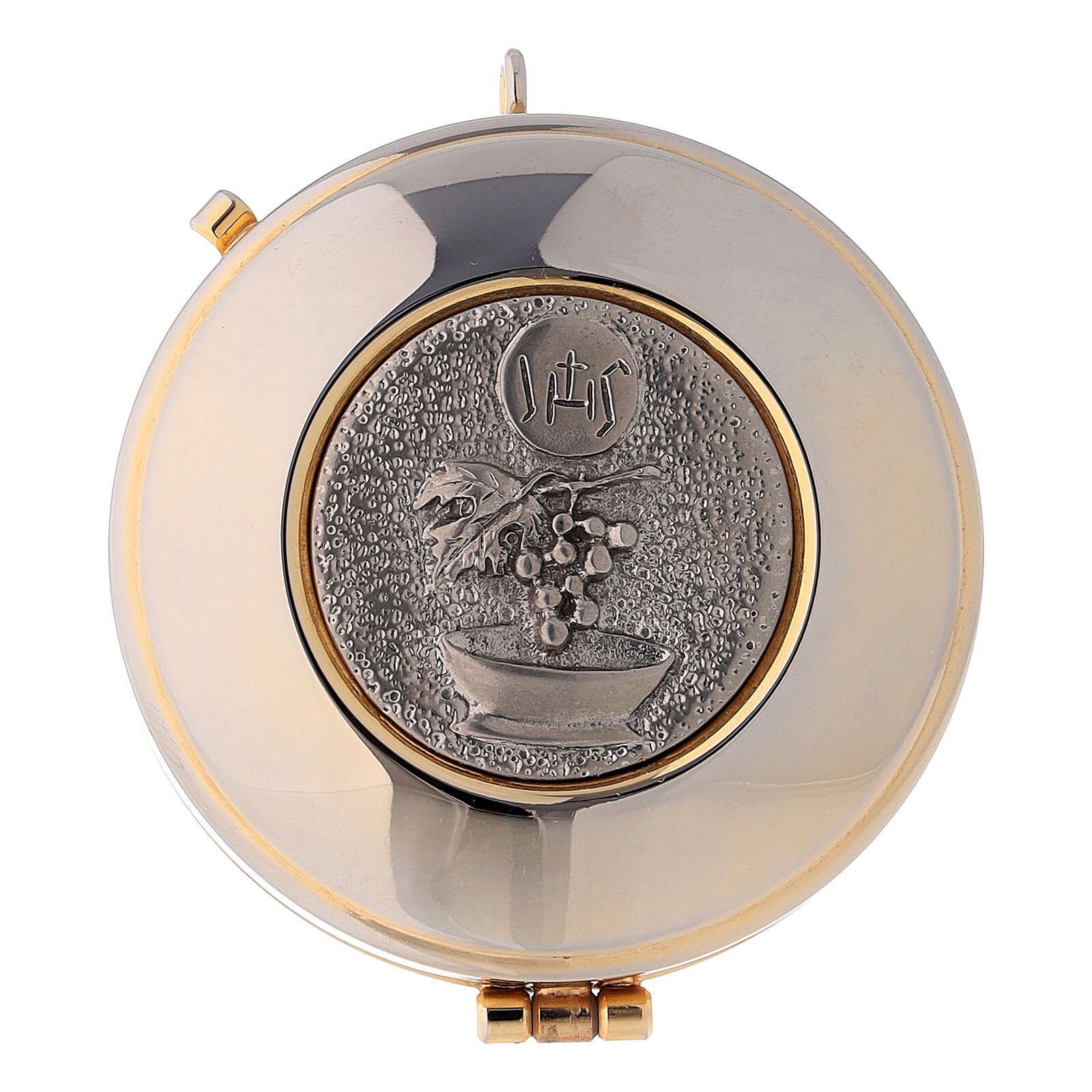 Pyx case in yellow jacquard fabric with golden brass pyx IHS 3