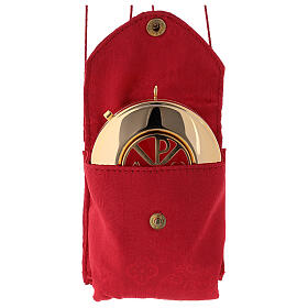 Pyx case in red jacquard fabric with golden brass pyx Chi Rho s2