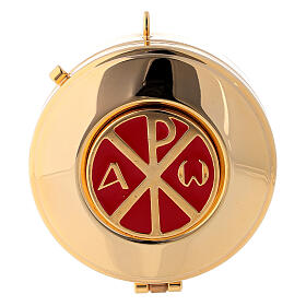 Pyx case in red jacquard fabric with golden brass pyx Chi Rho s3
