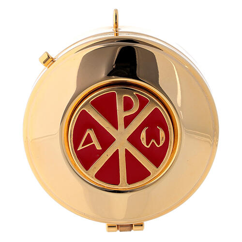 Pyx case in red jacquard fabric with golden brass pyx Chi Rho 3