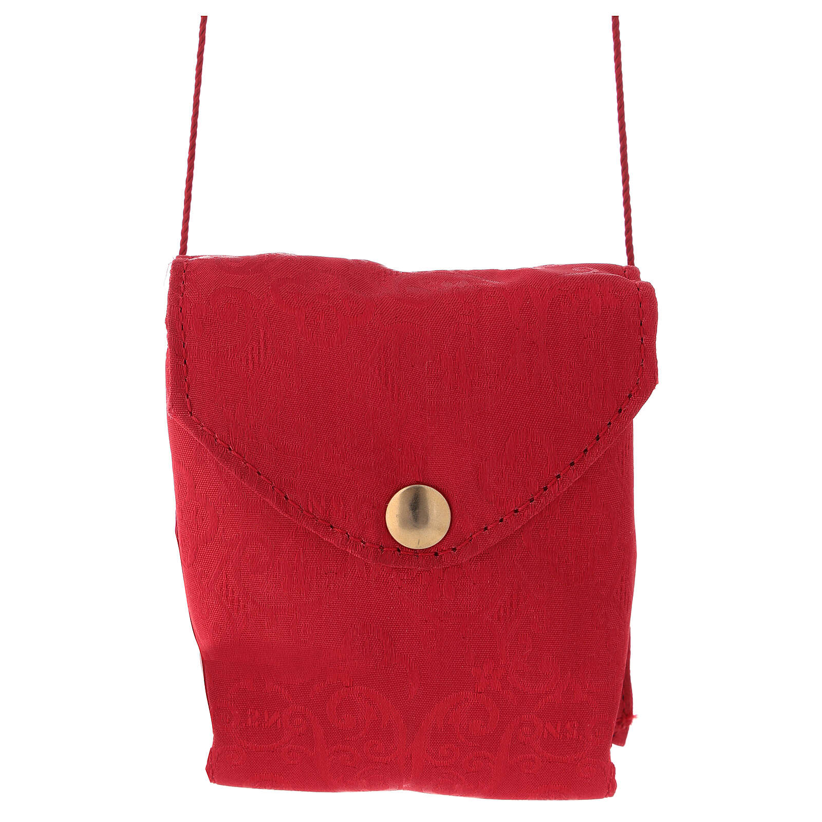 Caixa para hóstias placa emalte Chi-Rho estojo jacquard vermelho 3