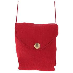 Caixa para hóstias placa emalte Chi-Rho estojo jacquard vermelho s1