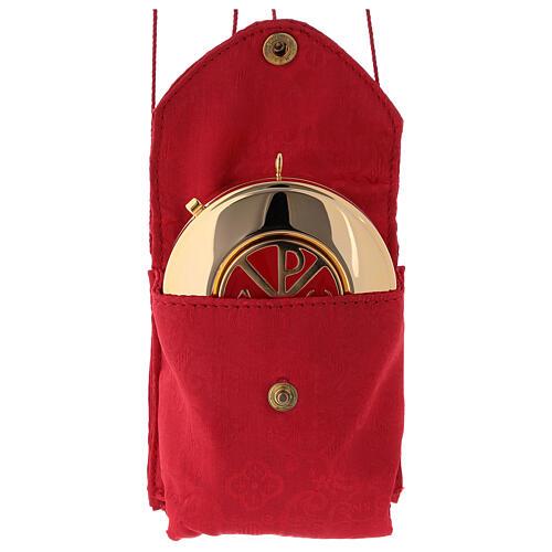 Caixa para hóstias placa emalte Chi-Rho estojo jacquard vermelho 2